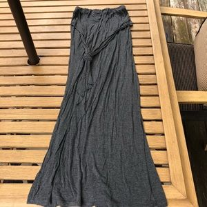 Grey Tied Front Maxi Skirt